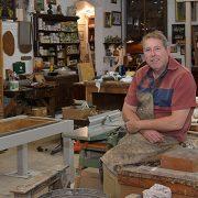 Graham Sparks in his wood workshop
