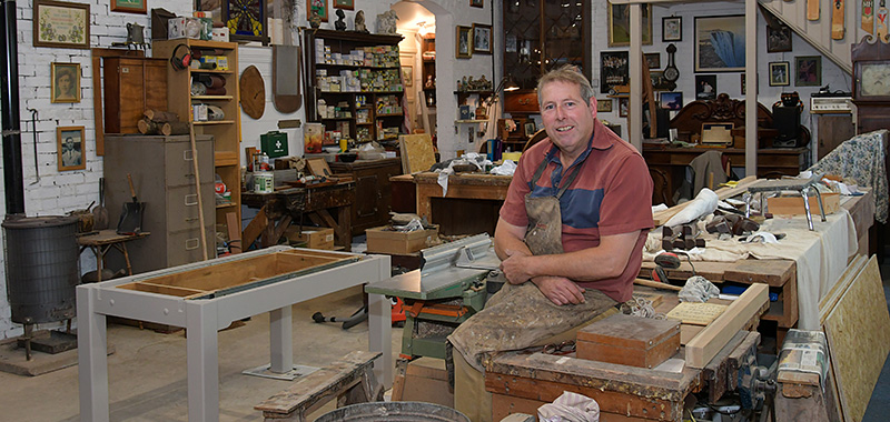 Graham Sparks in his wood workshop