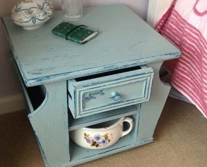 turquoise hand painted vintage upcycled bedside table